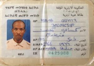 De Eritrese identiteitskaart van Kahsay Mekonen. Afgegeven in de aanloop naar de onafhankelijkheidsverkiezingen.