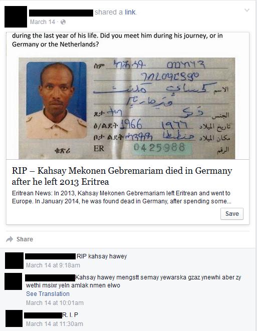 Oproep op Facebook via Misisng Eritreans