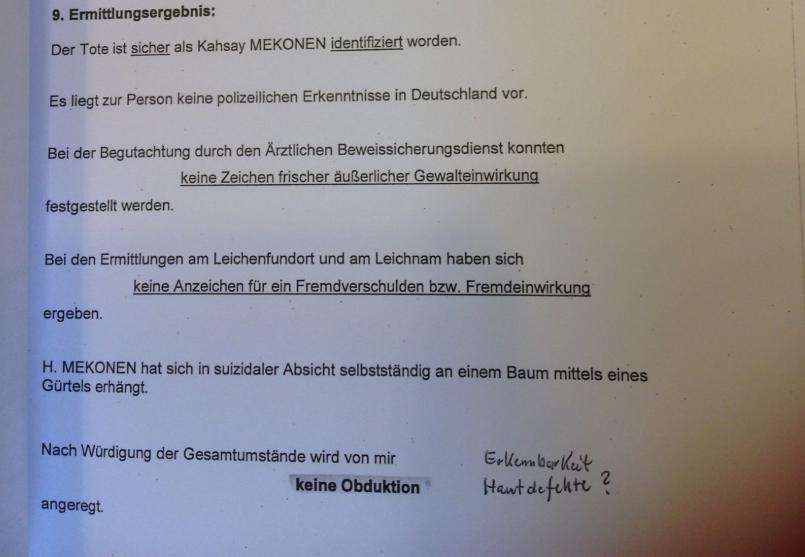 Politie in Bremen sluit het onderzoek naar de dood Mekonen