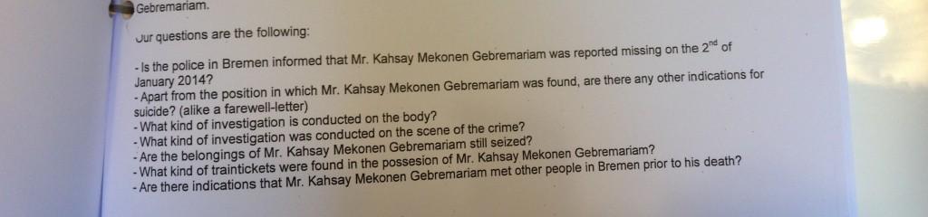 Vragen van de vreemdelingenpolitie in Utrecht aan de autoriteiten in Bremen